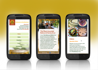 Three page examples shown on smartphones.